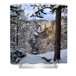 Lower Yellowstone Falls In October Shower Curtain by Robert Woodward