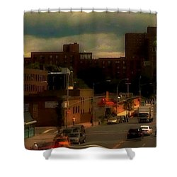 Shower Curtain featuring the photograph Lowering Clouds by Miriam Danar