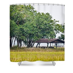 Lowland Picnic Place  Shower Curtain by Mary Ward