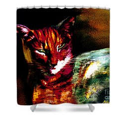 Lucifer Sam Tiger Cat Shower Curtain by Martin Howard