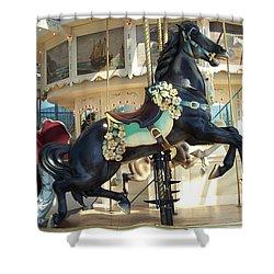 Shower Curtain featuring the photograph Lucky Black Pony - Syracuse Ptc No 18 by Barbara McDevitt