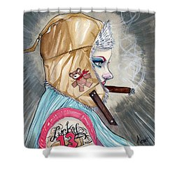 Lucky Bullet 13 Shower Curtain by Jimmy Adams