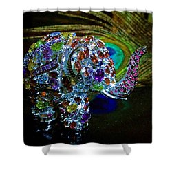 Lucky Jeweled Elephant Shower Curtain by Susan Maxwell Schmidt