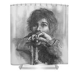 Shower Curtain featuring the drawing Lucy by Paul Davenport