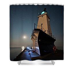 Ludington North Breakwater Lighthouse Shower Curtain by Adam Romanowicz