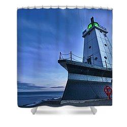 Ludington North Breakwater Lighthouse Shower Curtain by Sebastian Musial