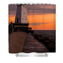Ludington Pier And Lighthouse Shower Curtain by Sebastian Musial