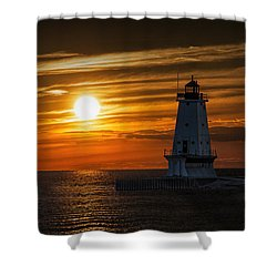 Ludington Pier Lighthead At Sunset Shower Curtain by Randall Nyhof