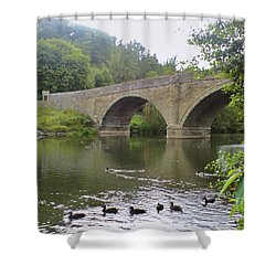 Shower Curtain featuring the photograph Ludlow Bridge by John Williams