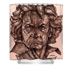 Ludwig Van Beethoven Shower Curtain by Derrick Higgins