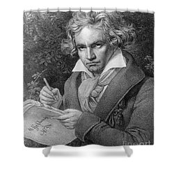 Ludwig Van Beethoven Shower Curtain by Joseph Carl Stieler