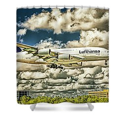 Lost In The Clouds Lufthansa A380 Named Hamburg-colorized Abstract Shower Curtain