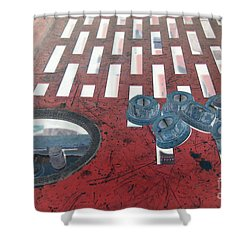 Lug Nuts On Grate And Circle H Shower Curtain by Heather Kirk