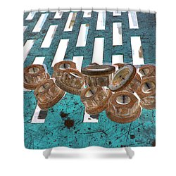 Lug Nuts On Grate Vertical Turquoise Copper Shower Curtain by Heather Kirk