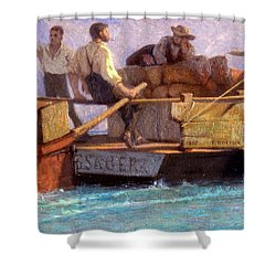 Luggage Boat Shower Curtain by F.L.D. Bocion