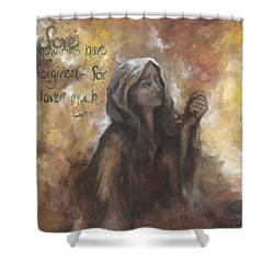 Luke 7 Verse 47 Forgiveness Shower Curtain
