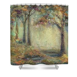 Shower Curtain featuring the painting Luminous Landscape by Mary Wolf