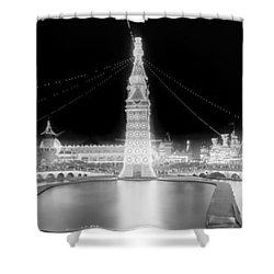 Luna Park At Night Coney Island Shower Curtain by Georgia Fowler