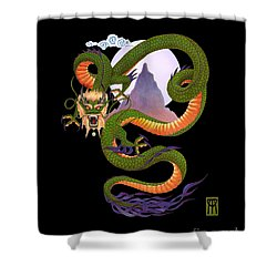 Lunar Chinese Dragon On Black Shower Curtain