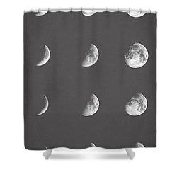 Lunar Phases Shower Curtain by Taylan Apukovska