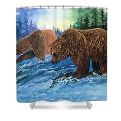 Shower Curtain featuring the painting Lunch Break by Sherry Shipley