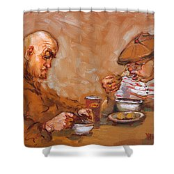 Lunchtime At Tim  Shower Curtain by Ylli Haruni