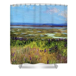 Shower Curtain featuring the painting Lupine Of Fort Hill by Michael Helfen