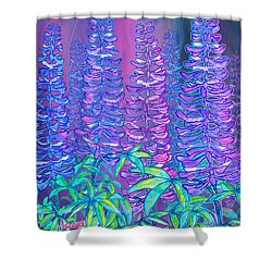 Shower Curtain featuring the mixed media Lupines by Teresa Ascone