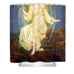 Lux In Tenebris Shower Curtain by Evelyn De Morgan