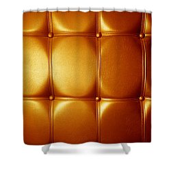 Luxury Genuine Leather. Golden Color Shower Curtain by Michal Bednarek