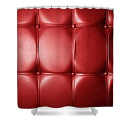 Luxury Genuine Leather. Red Color Shower Curtain by Michal Bednarek
