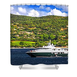 Luxury Yacht At The Coast Of French Riviera Shower Curtain by Elena Elisseeva