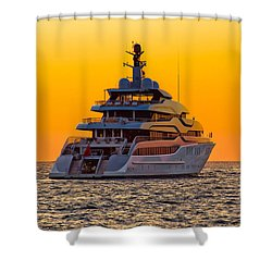 Luxury Yacht On Open Sea At Sunset Shower Curtain