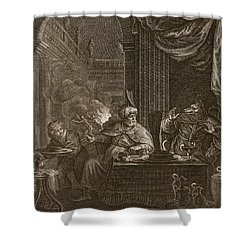 Lycaon Metamorphosed Into A Wolf, 1731 Shower Curtain by Bernard Picart