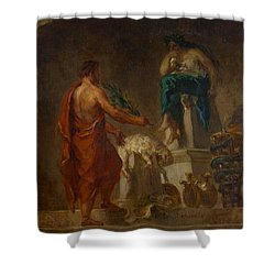Lycurgus Consulting The Pythia Shower Curtain by Eugene Delacroix