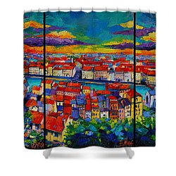 Lyon Panorama Triptych Shower Curtain