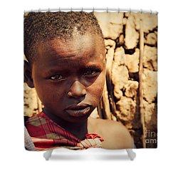 Maasai Child Portrait In Tanzania Shower Curtain by Michal Bednarek