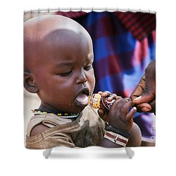 Maasai Child Trying To Eat A Lollipop In Tanzania Shower Curtain by Michal Bednarek