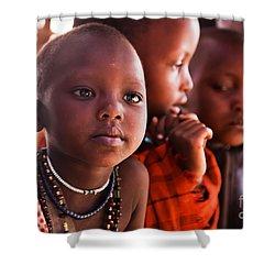 Maasai Children In School In Tanzania Shower Curtain by Michal Bednarek