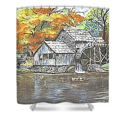 Shower Curtain featuring the painting Mabry Grist Mill In Virginia Usa by Carol Wisniewski