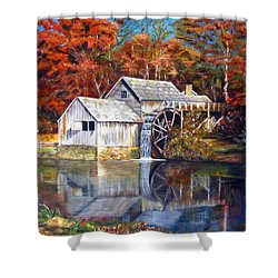 Shower Curtain featuring the painting Mabry Mill Blue Ridge Virginia by LaVonne Hand