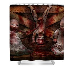 Macabre - Dolls - Having A Friend For Dinner Shower Curtain by Mike Savad