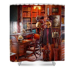 Macabre - In The Headhunters Study Shower Curtain by Mike Savad