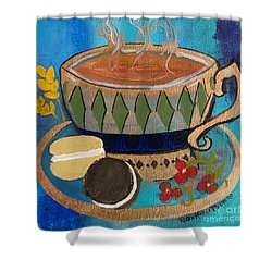 Shower Curtain featuring the painting Macaroons And Tea by Robin Maria Pedrero