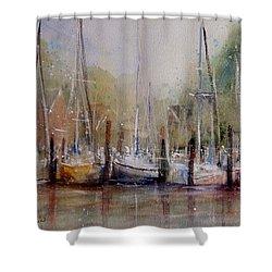 Macatawa Morning Shower Curtain by Sandra Strohschein