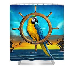Macaw Pirate Parrot Shower Curtain by Glenn Holbrook
