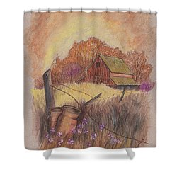 Shower Curtain featuring the drawing Macgregors Barn Pstl by Carol Wisniewski