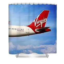 Virgin America Mach Daddy - Rare Shower Curtain by Aaron Berg