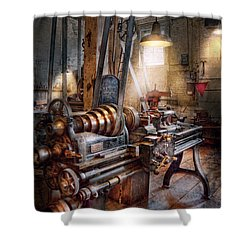 Machinist - Fire Department Lathe Shower Curtain by Mike Savad