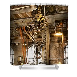 Machinist - In The Age Of Industry Shower Curtain by Mike Savad